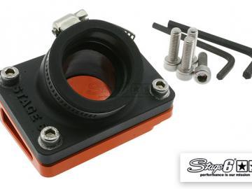 Ansaugstutzen & Spacer Stage6 R/T Piaggio lang & Peugeot liegend Orange