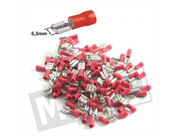 Kabelschuhe 6,3mm Stift Weiblich Rot 10St