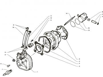 Explosionszeichnung 50ccm Ersatz Zylinder Minarelli liegend LC