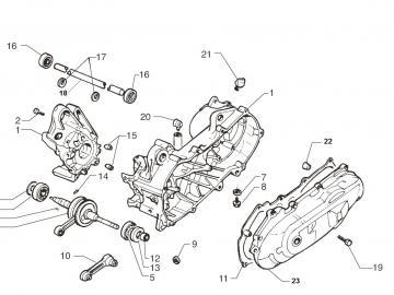 Explosionszeichnung Motorblock Minarelli liegend