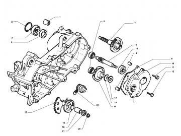 Explosionszeichnung Getriebe Minarelli liegend