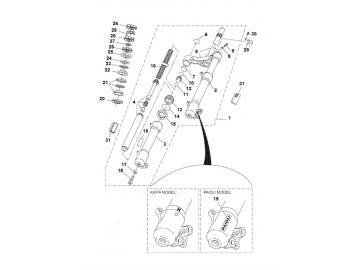 Explosionszeichnung Gabel MBK Nitro & Yamaha Aerox bis Bj. 2013