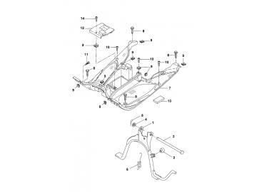 Explosionszeichnung Trittbrett & Hauptständer MBK Nitro Yamaha Aerox