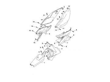 Explosionszeichnung Seitenteile MBK Nitro Yamaha Aerox