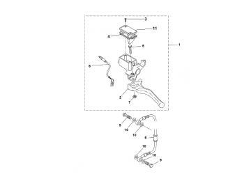 Explosionszeichnung Bremspumpe Hinten MBK Nitro Yamaha Aerox