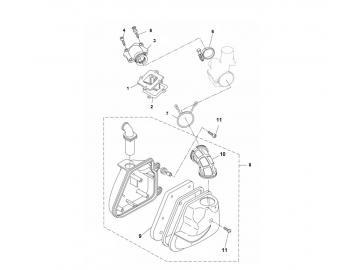 Explosionszeichnung Luftfilter / Ansaugstutzen Minarelli liegend