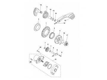 Explosionszeichnung Anlasser & Kickstarter Minarelli liegend