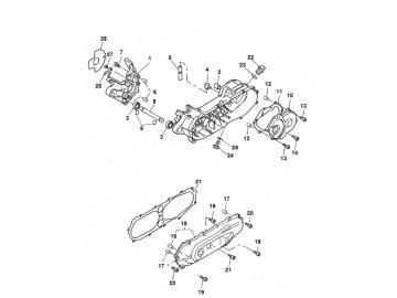 Explosionszeichnung Motorblock Minarelli stehend