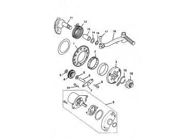 Explosionszeichnung Anlasser & Kickstarter Minarelli stehend