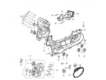 Explosionszeichnung Motorblock Peugeot Jetforce