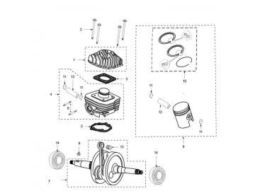 Explosionszeichnung Kurbelwelle / Zylinder Peugeot
